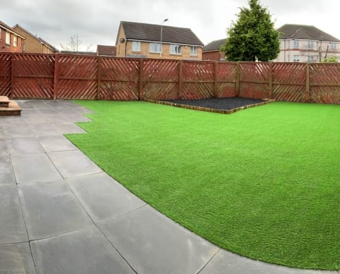 Artificial Grass Installation Carfin by The Artificial Lawn Company, Livingston, West Lothian.