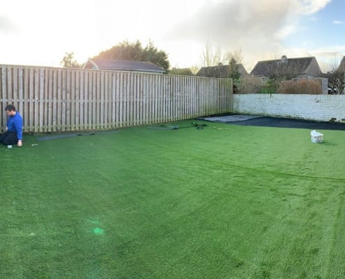 Artificial Turf installation Barntongate Edinburgh by The Artificial Lawn Company, Livingston, West Lothian.