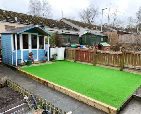 Artificial Lawn Install, Glenrothes, Fife., by The Artificial Lawn Company, Livingston, West Lothian.