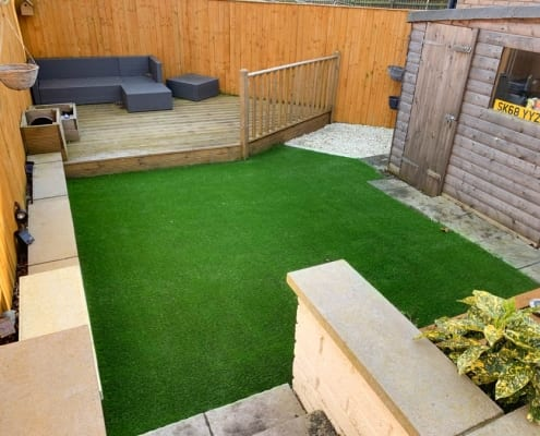 Artificial lawn installation Bo'ness by The Artificial Lawn Company, Livingston, West Lothian.